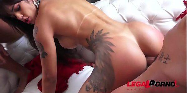 Brazilian pornstar Shayenne Samara double anal fucked on the couch BZ003